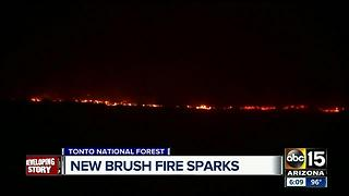 New brush fire sparks near Tonto National Forest, east of Sunset Point - Video