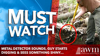 Metal Detector Sounds, Guy Starts Digging & Sees Something Shiny… Jackpot! - Video