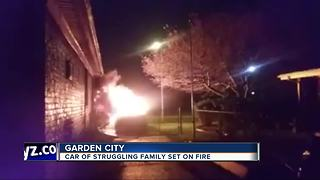 Car of struggling family set on fire - Video
