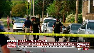 Homeless person hit by a vehicle in downtown - Video
