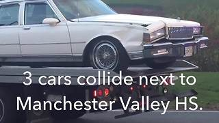 2 sent to hospital after crash outside of Manchester Valley High School - Video