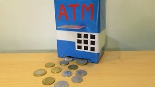 How to make a ATM Machine Piggy Bank Mini ATM Machine at Home - toy for kid  - Video