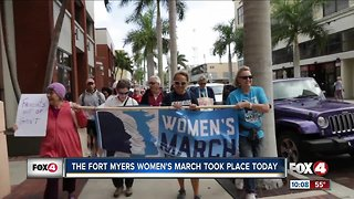 People gather for the Fort Myers Women's march