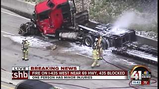Driver injured in fiery semi rollover wreck on I-435 in Overland Park - Video