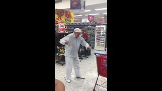 Elderly Man Shows Off His Dancing Skills In Supermarket - Video