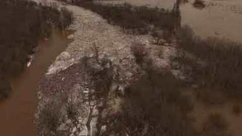 Drone Footage Shows Flooding and Ice Jam in Ontario