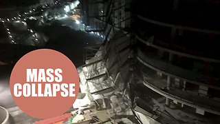 Video shows dramatic moment scaffolding collapses in huge storm - Video