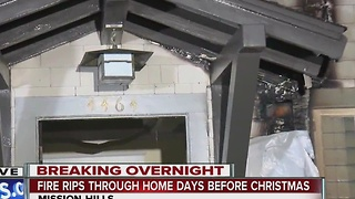 Fire rips through Mission Hills home days before Christmas - Video