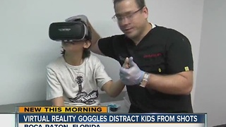 Virtual reality goggles distract kids from shots - Video