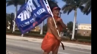 Hawaiian Man Flys Trump Flag: Trump 2020 meme