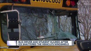 Ice sheet shatters school bus windshield in Shelby Township