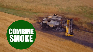 Two expensive combine harvesters were spotted on fire