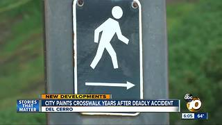 New crosswalk at deadly intersection in Del Cerro - Video