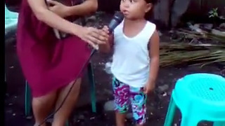 Cute Little Filipino Girl Singing Song on her Birthday   - Video