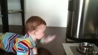 Baby 'swims' across floor to reach cat food bowl - Video