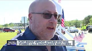 Officer who was stabbed at Flint airport: 'It feels great to be here, period' - Video