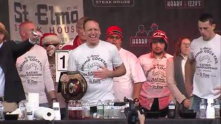 Joey Chestnut defends title, wins St. Elmo's Shrimp Cocktail Eating Contest for 5th consecutive year - Video