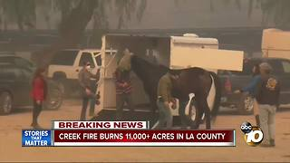 Creek Fire burns 11,000+ acres in LA County - Video