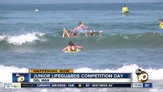 San Diego Junior Lifeguard competition at Del Mar beach - Video