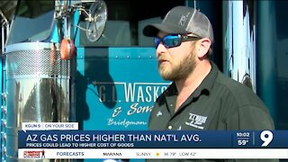 AZ gas prices could cause higher prices on food and other goods