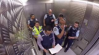 Police Officers Lay Down Amazing Beat During Elevator Ride - Video