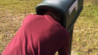 Kid Gets Head Stuck In Mailbox - Video