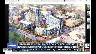 100+ community members protesting Towson Row project - Video