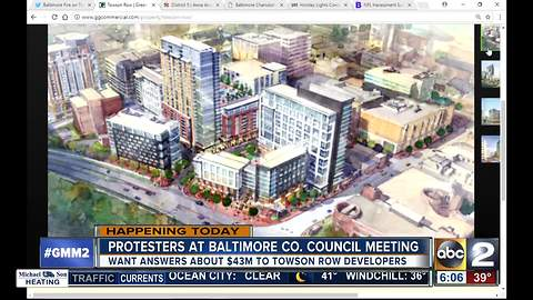 100+ community members protesting Towson Row project