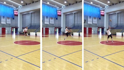 Student pulls of insane half-court trick shot on the very first attempt