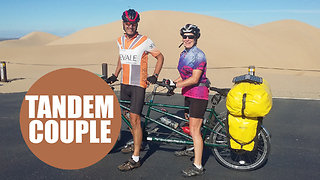 Middle-aged couple travel 11,500 miles around the world on a tandem bike - Video