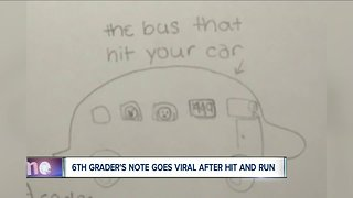 6th graders note goes viral after hit and run