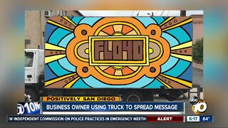 Local business owner uses truck to spread message