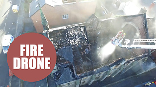 Drone footage captures the aftermath of a raging blaze - Video