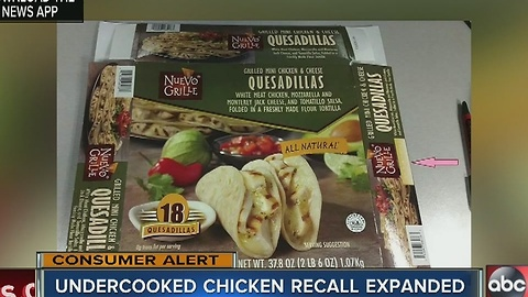 Undercooked chicken recall expanded