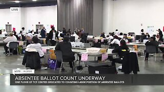 Absentee ballot count underway at Detroit's TCF Center