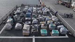 US Coast Guard Offloads 26 Tons of Cocaine After Busts - Video
