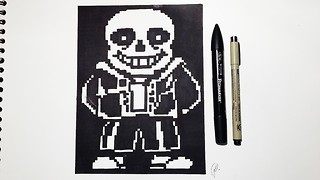 How to draw Sans from 'Undertale' - Speed drawing pixel art - Video