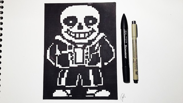 How To Draw Sans From Undertale Speed Drawing Pixel Art