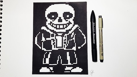 How to draw Sans from 'Undertale' - Speed drawing pixel art
