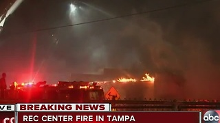 Crews battle fire that has destroyed a Tampa recreation center - Video