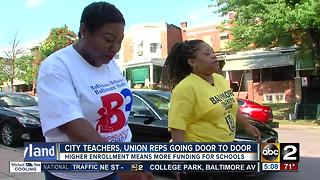 Baltimore City teachers, union reps go door-to-door to increase enrollment - Video