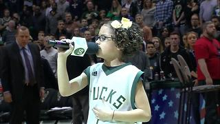 9-year-old Liamani Segura belts out National Anthem at Milwaukee Bucks game - Video