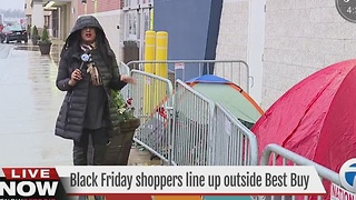 Black Friday shoppers line up ahead of shopping day - Video