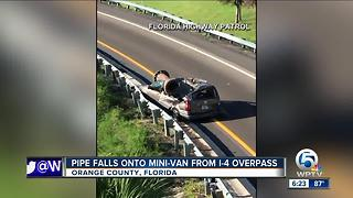 Florida driver survives crash when metal object falls on van - Video