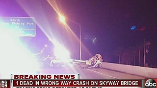 SB lanes blocked after fatal wrong-way crash on Skyway Bridge - Video