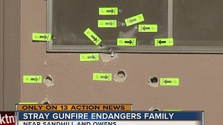 Stray gunfire endangers family in Las Vegas - Video