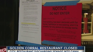 Golden Corral restaurant closed after reportedly discharging sewage into canal