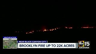 Brooklyn Fire burns 22,000 acres northeast of Black Canyon City - Video