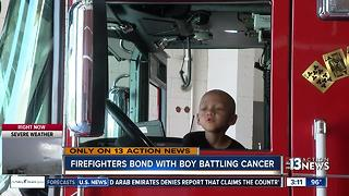 Firefighters form bond with young boy with cancer