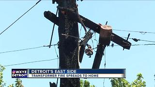 Transformer fire spreads to Detroit home, destroying cars - Video